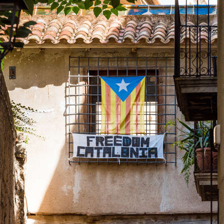View of building with the flag of Estelada, Tarragona, Catalunya, Spain. Copy space for text Editorial