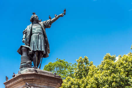 SANTO DOMINGO, DOMINICAN REPUBLIC - AUGUST 8, 2017: View of the monument to Christopher Columbus. Copy space for text. Vertical