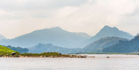 View of the landscape of the river Nam Khan, Louangphabang, Laos. Archivio Fotografico