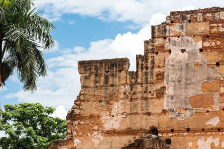 View on ruins of the Hospital of St. Nicolas of Bari, Santo Domingo, Dominican Republic. Close-up