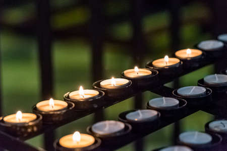 Candles in the Cathedral of Tarragona (Catholic Cathedral) Catalunya, Spain. Close-up Stock Photo