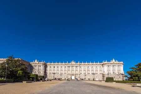 MADRID, SPAIN - SEPTEMBER 26, 2017: View of the Royal Palace building. Copy space for text Editorial