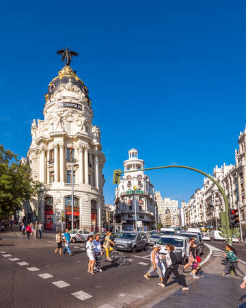 MADRID, SPAIN - SEPTEMBER 26, 2017: View of Metropolis building. Copy space for text. Vertical