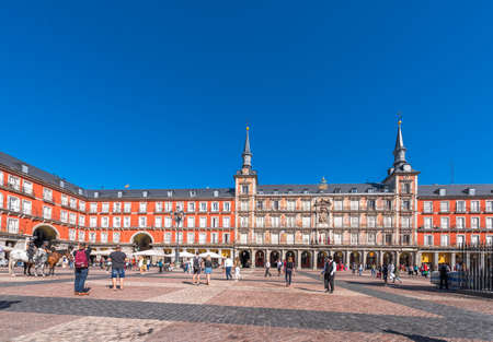 MADRID, SPAIN - SEPTEMBER 26, 2017:View of the building and the square. Copy space for text