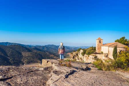 View of the Romanesque church of Santa Maria de Siurana, in Siurana, Tarragona, Catalunya, Spain. Copy space for text
