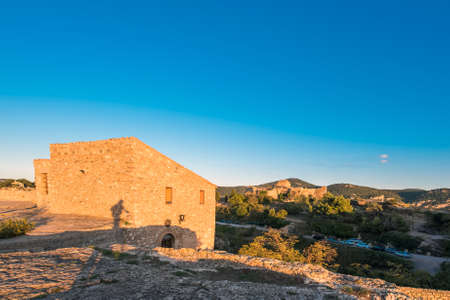 View of the buildings in the village Siurana, Tarragona, Spain. Copy space for text Stock Photo