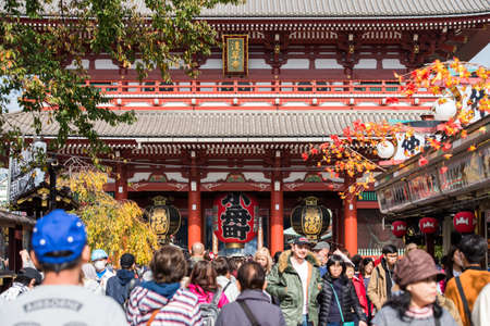 TOKYO, JAPAN - OCTOBER 31, 2017: A crowd of tourists near the temple Senso-ji