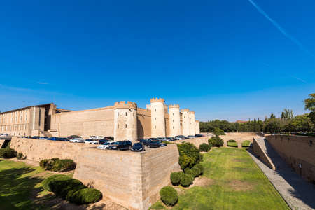 ZARAGOZA, SPAIN - SEPTEMBER 27, 2017: View of the palace Aljaferia, built in the 11th century. Copy space for text