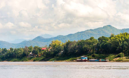 View of the landscape of the river Nam Khan, Luang Prabang, Laos. Copy space for text Standard-Bild
