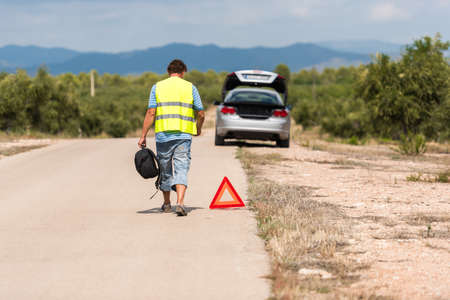 The Spanish landscape. The car broke down on the road, Tarragona, Catalunya, Spain. Copy space for text Stock Photo
