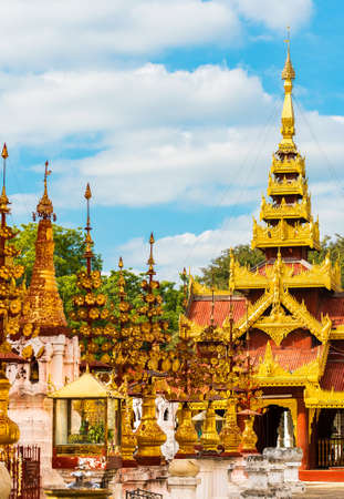 View of the building of the Shwezigon pagoda in Bagan, Myanmar. Copy space for text. Vertical