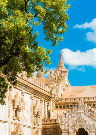 View of the temple building in Bagan, Myanmar. Copy space for text. Vertical Stock Photo