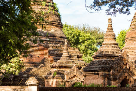 View of the complex of ancient pagodas in Bagan, Myanmar. Copy space for text
