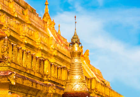 View of the building of the Shwezigon pagoda in Bagan, Myanmar. Close-up Stock Photo
