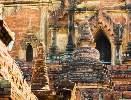 View of the facade of a building on a pagoda in Bagan, Myanmar. Close-up Stock Photo