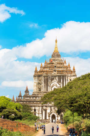 BAGAN, MYANMAR - DECEMBER 1, 2016: View of the facade of the building of Thatbyinnyu temple. Copy space for text. Vertical