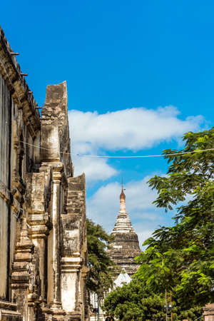 View of the buddhist pagoda in Bagan, Myanmar. Copy space for text. Vertical Stock Photo