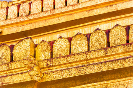 View of the facade of the buddhist temple building in Bagan, Myanmar. Close-up