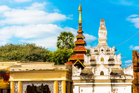 View of the building of the Shwezigon pagoda in Bagan, Myanmar. Copy space for text