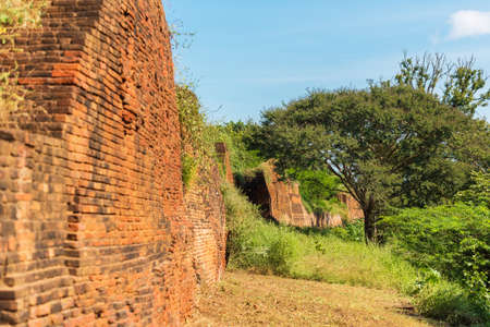 View of the brick wall of a buddhist temple in Bagan, Myanmar. Copy space for text Stock Photo