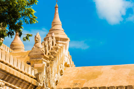 View of the facade of the buddhist temple building in Bagan, Myanmar. Copy space for text Stock Photo