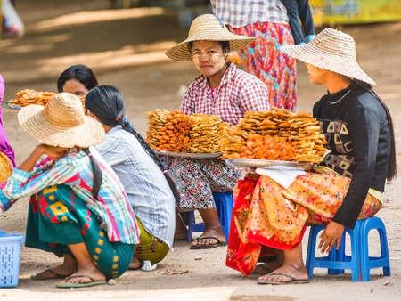 BAGAN, MYANMAR - DECEMBER 1, 2016: Sellers seafood in the local market. Close-up
