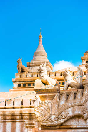 View of the facade of the buddhist temple building in Bagan, Myanmar. Copy space for text. Vertical