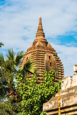 View of the buddhist temple in Bagan, Myanmar. Copy space for text. Vertical