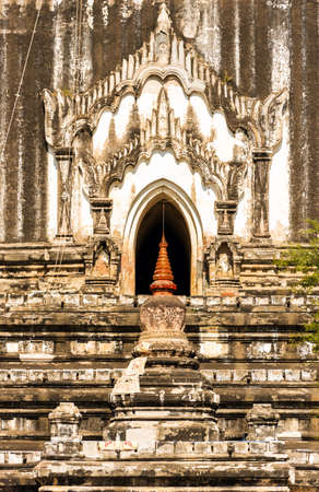 View of the buddhist pagoda in Bagan, Myanmar. Close-up. Vertical Stock Photo