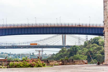 View of the city bridge in the city center in Santo Domingo, Dominican Republic. Copy space for text 写真素材