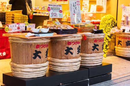 KYOTO, JAPAN - NOVEMBER 7, 2017: Wooden barrels in the store. Close-up