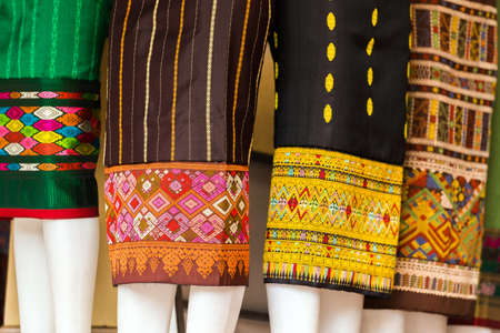 Multicolored fabric close-up in Luang Prabang, Laos Imagens