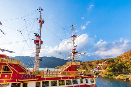 HAKONE, JAPAN - NOVEMBER 5, 2017: Hakone pirate ship on the Ashi lake. Copy space for text
