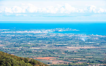 View of the landscape of the Costa Dorada, Tarragona, Spain. Copy space for text
