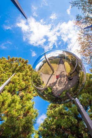HAKONE, JAPAN - NOVEMBER 5, 2017: Sculpture mirror ball, open air museum. Vertical