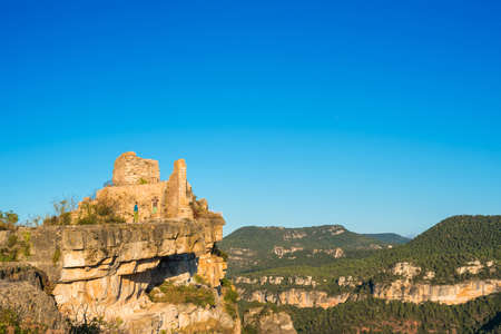 SIURANA DE PRADES, SPAIN: View of the ruins of the castle of Siuran. Copy space for text Stock Photo