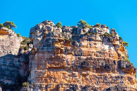 Rocky landscape in Siurana de Prades, Tarragona, Spain. Copy space for text Stock Photo