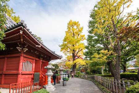 TOKYO, JAPAN - OCTOBER 31, 2017: View of the building on the territory of the temple. Copy space for text