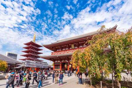TOKYO, JAPAN - OCTOBER 31, 2017: A crowd of tourists near the temple Asakusa Schrein (Senso-ji). Copy space for text