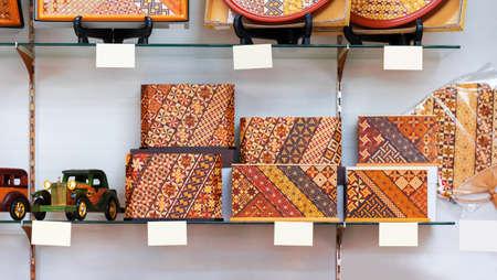 Decorative boxes made of wood, Hanoke, Japan. Close-up