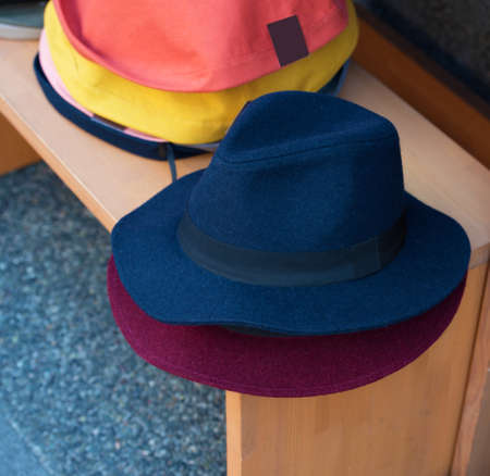 Summer hats on the counter in the store, Kyoto, Japan. Close-up