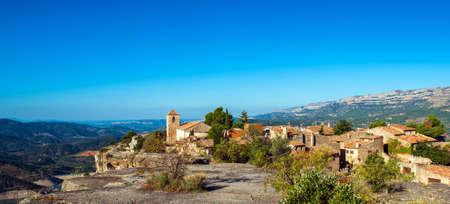 View of the romanesque church of Santa Maria de Siurana, in Siurana, Tarragona, Spain. Copy space for text