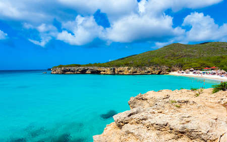 Paradise beach Grote Knip on tropical caribbean island, Curacao, Netherlands. Copy space for text 写真素材