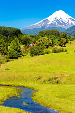Volcano Osorno in national park Vicente Perez Rosales, Chile. Copy space for text. Vertical