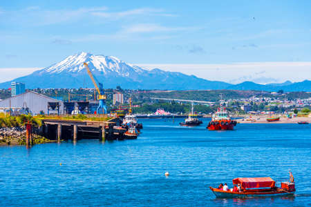 PUERTO MONTT, CHILE - JANUARY 12, 2018: View of the Osorno volcano. Copy space for text Editorial