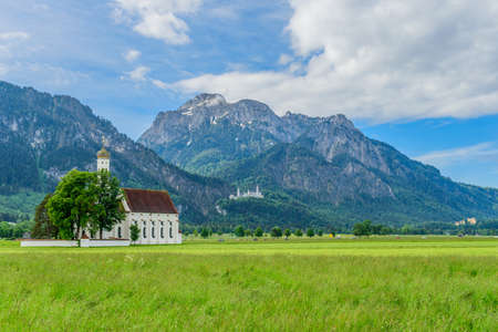 Schwangau, Germany. St. Coloman Church, near the town of Fussen, Bavaria, Germany. Copy space for text 写真素材
