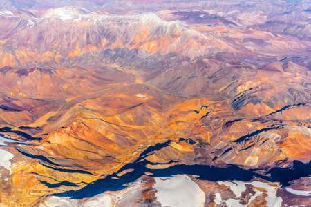 View of the mountain landscape in the Atacama, Chile. Top view. Copy space for text