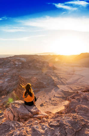 Landscape in Atacama desert, Chile. Copy space for text. Vertical Stock Photo