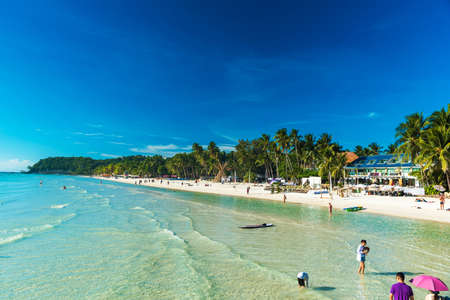 BORACAY, PHILIPPINES - FEBRUARY 28, 2018: View of the sandy beach. Copy space for text Editorial