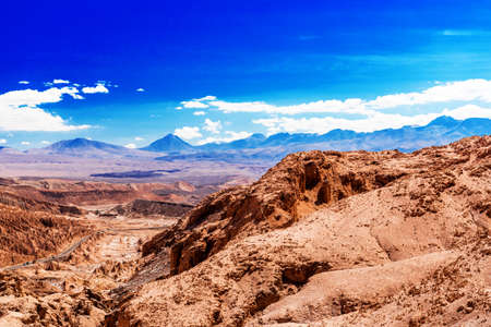 View of the mountain landscape in the Atacama, Chile. Copy space for text Stock Photo